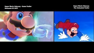 Super Mario Odyssey Trailer Side by Side - Official E3 2017 + The Animated Trailer
