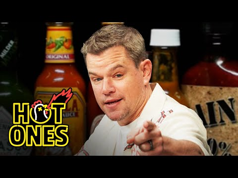 Matt Damon Sweats From His Scalp While Eating Spicy Wings   Hot Ones
