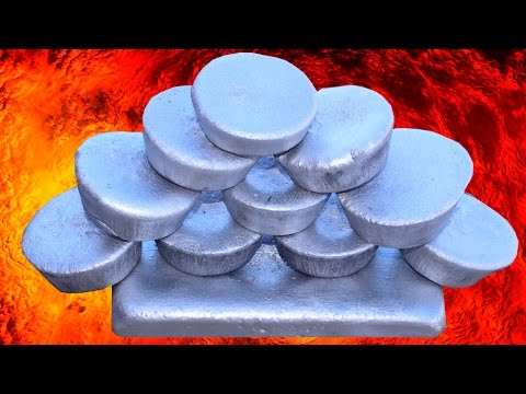 MELTING CANS TURNS INTO MOLTEN ALUMINUM HOW TO MAKE INGOTS METAL MUFFINS FOR LOST FOAM CASTING