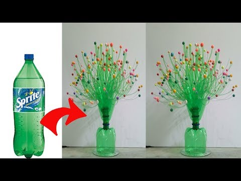 DIY Flower Vase using with Plastic bottle !!!!! Craft Ideas !!! SK CRAFTS