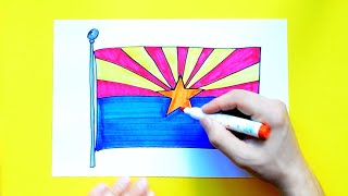 How to draw and color the Flag of Arizona State, USA
