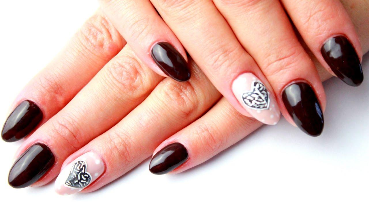 3d Manicure Brazowe Paznokcie Z Serduszkowym Wzorem Semilac