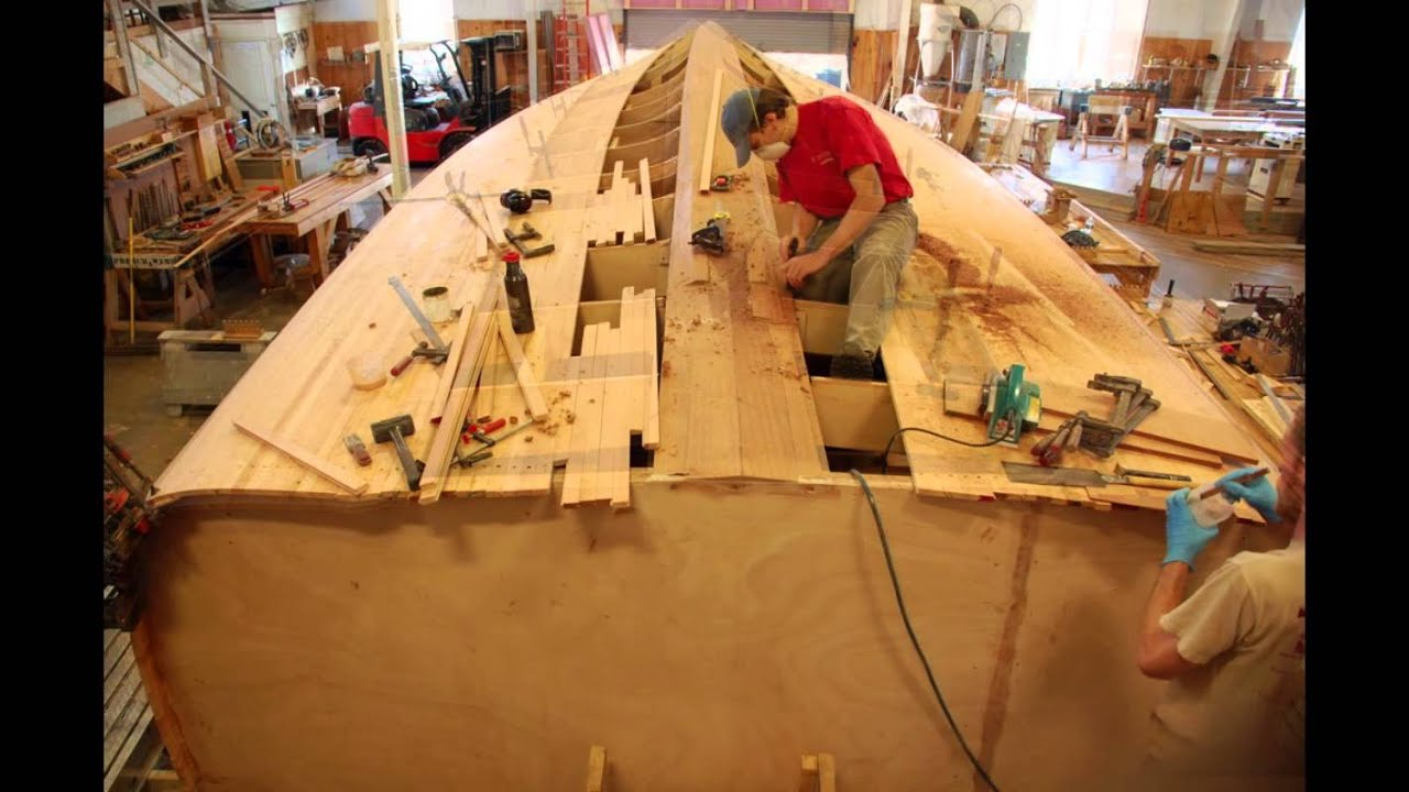 Time Lapse Of Cold Molded Wooden Boat Building Stage 1