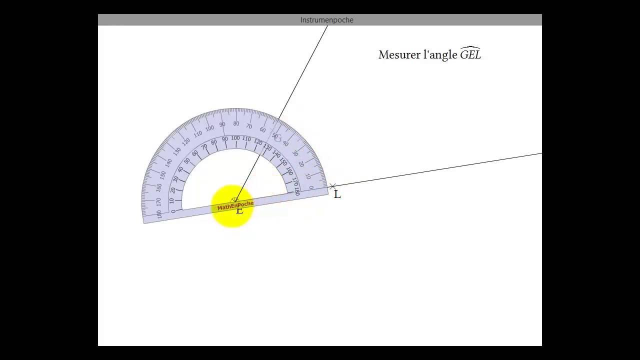 Utilisation du rapporteur pour mesurer un angle youtube - Rapporteur d angle ...
