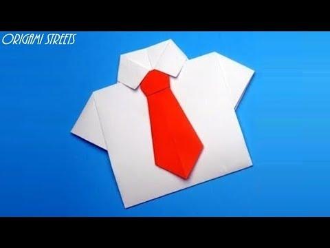 Как сделать рубашку с галстуком. Оригами рубашка с галстуком из бумаги.