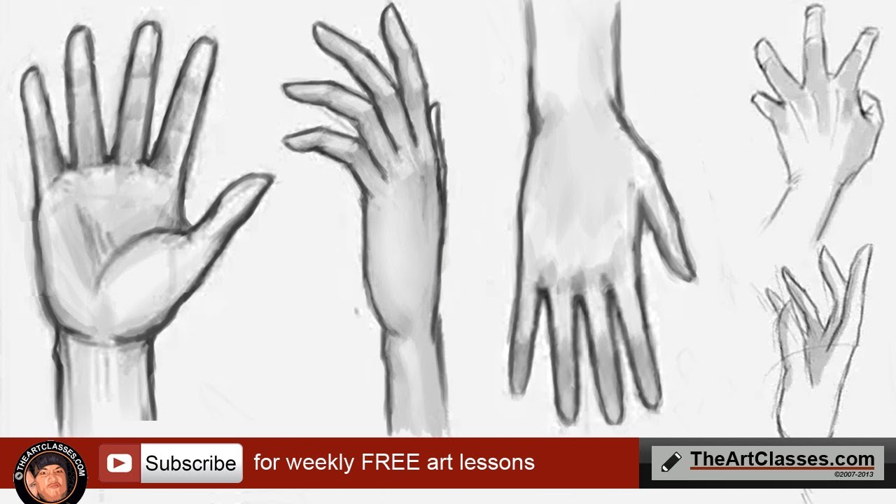 How to draw hands front and back - YouTube