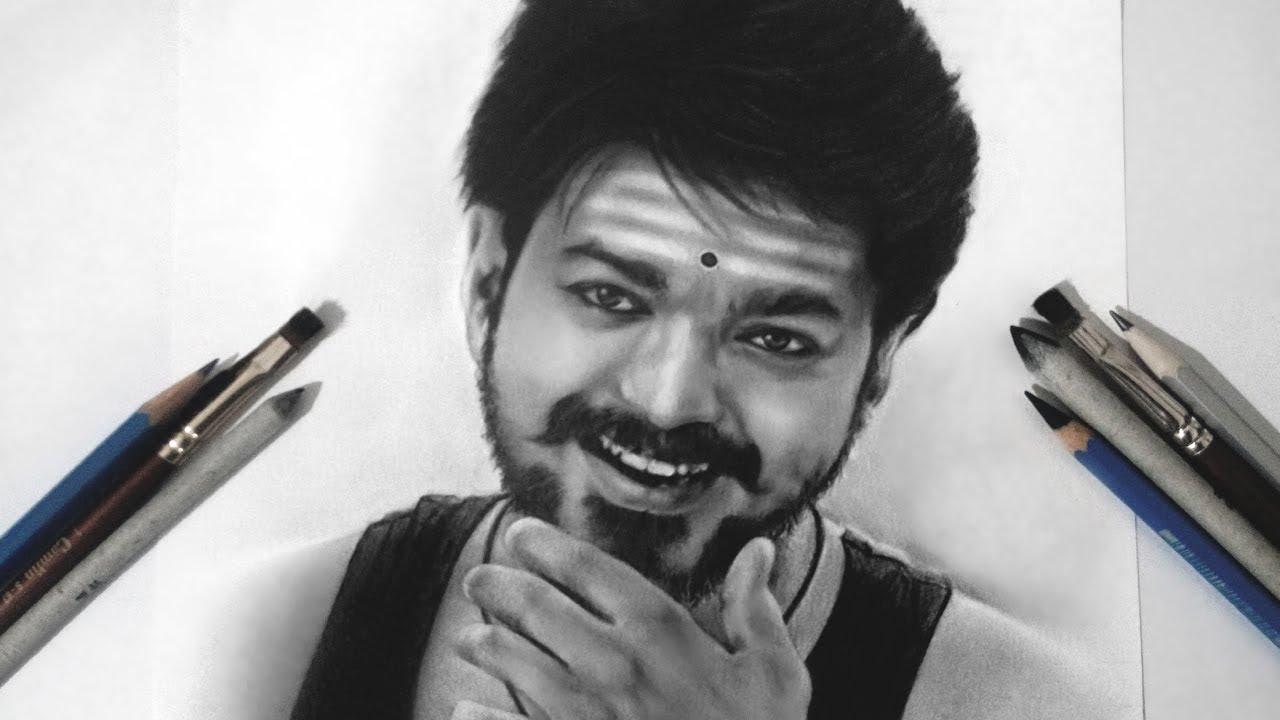 Mersal Drawing Thalapathy Vijay Realistic Sketch Youtube