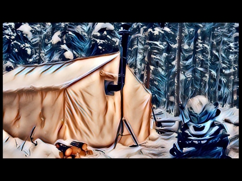 Solo Winter Camping in a Canvas Tent With a Wood Stove