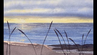 How to Paint a Waterscape (Sea and Beach) in Watercolor - Narrated