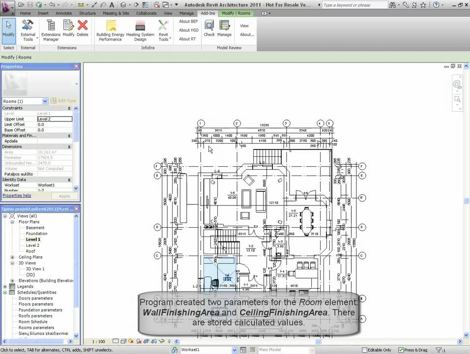 Revit Tools Finishing Area Calculations Youtube