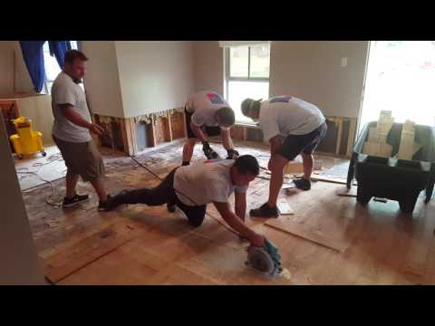 HEART911 ripping out contaminated floor due to severe flooding in Baton Rouge Louisiana August 2016