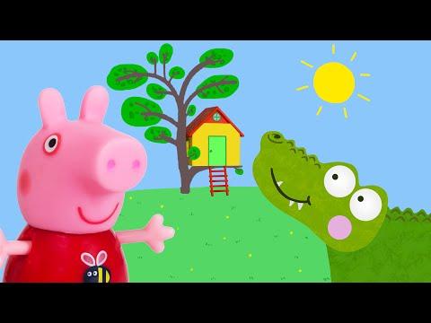 Peppa Pig Game | Crocodile Hiding in Peppa Pig Toy Treehouse | Peppa Pig Tree House Playset