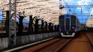 桜並木の鉄道動画を作ってみました。 阪神電鉄でこういうポイントってあ...