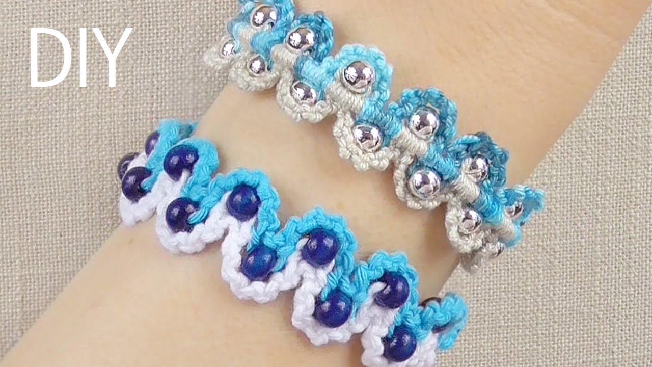 Diy Macrame Bracelets Waves With Beads Youtube