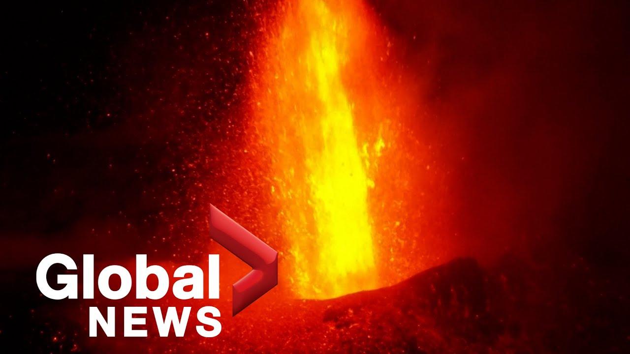 Download La Palma volcano: Lava overflows from collapsed cone