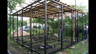 Садовый домик из металлокаркаса за 42 дня(Мы строили строили и наконец то построили (конкретно сварили,привинтили) садовый домик -пока без внутренней..., 2015-01-25T16:19:50.000Z)
