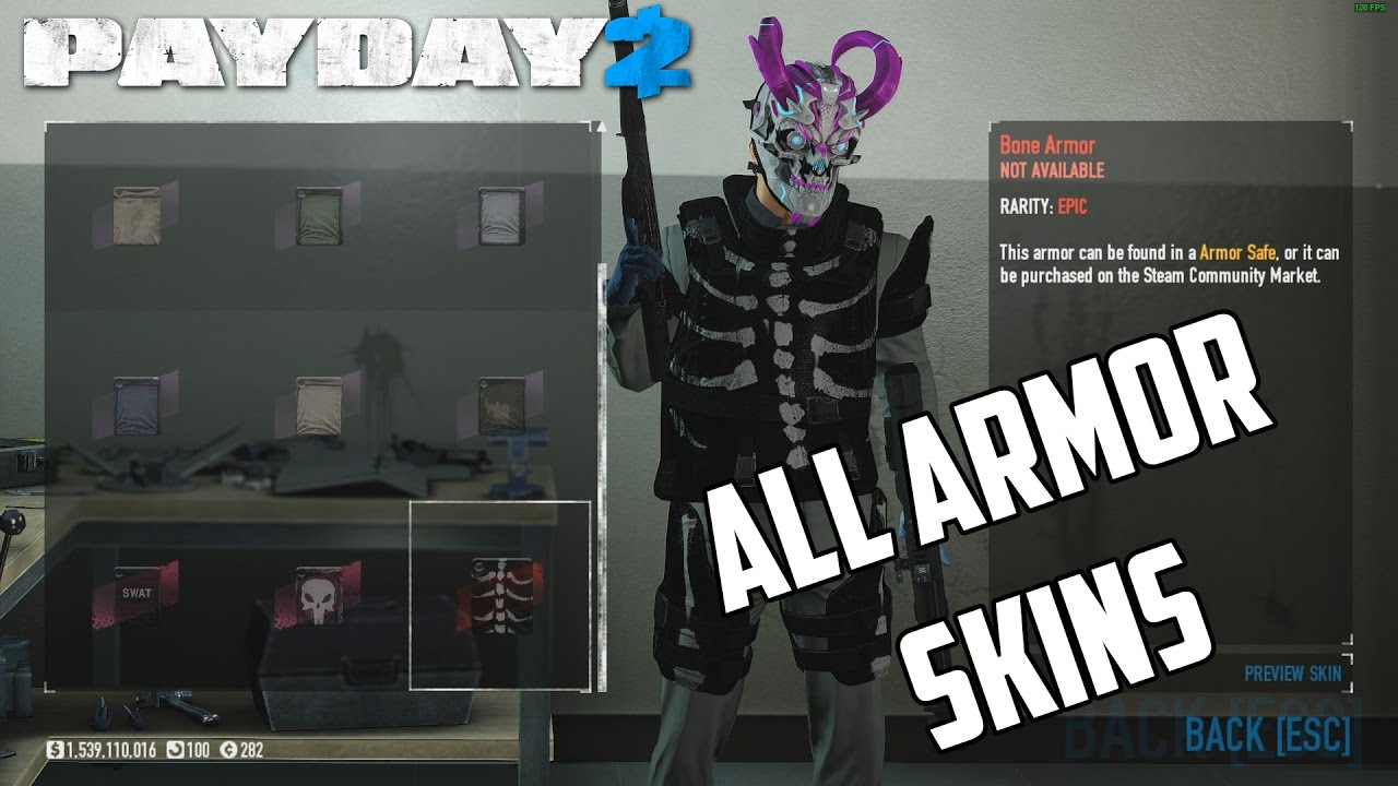 PAYDAY - All Current Armor Skins (Armor Safe and Crime Spree Skins)