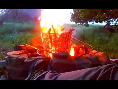 Homemade Fire Pit - Part 9 / Time-Lapse Experiment #6: Burning a Wicker Basket