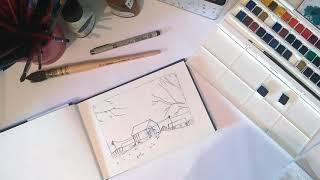 Paint a winter farm - watercolor