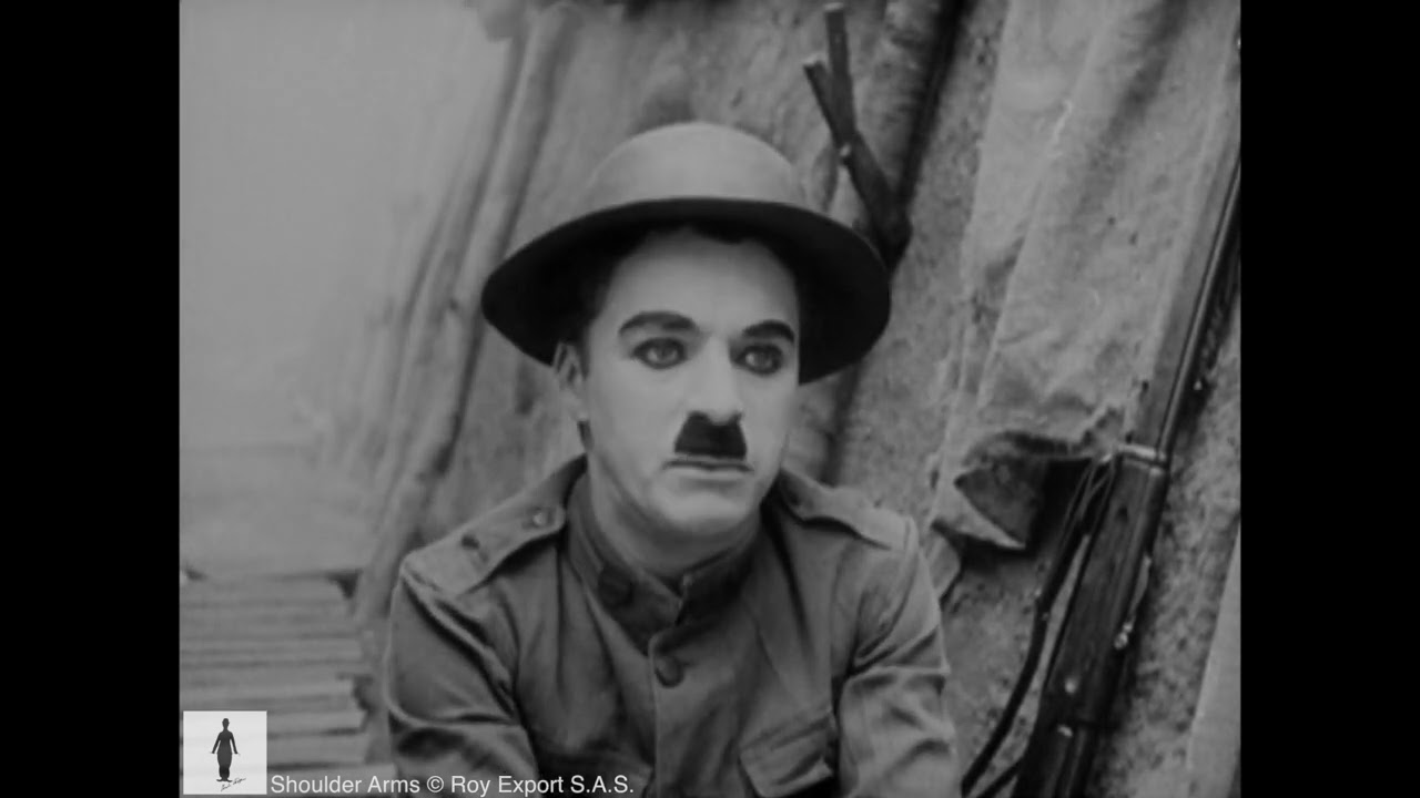 Charlie Chaplin in the trenches (Scene from Shoulder Arms, 1918)