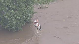 増水した川に取り残された男性をヘリで救出 埼玉県新座市