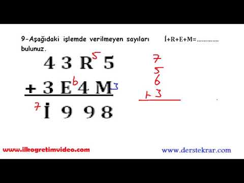 4. Sınıf Matematik Dersi 1. Dönem 2. Yazılı (Örnek 2)