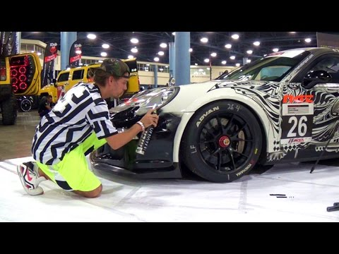 2013 Porsche 911 Gt3 One Of A Kind Hand Painted Art Race Car Dub