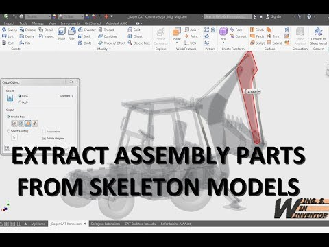 Extracting assembly parts from Skeleton in Inventor - YouTube