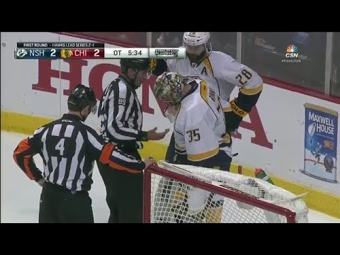 Rinne loses puck in pads for nearly 3 minutes
