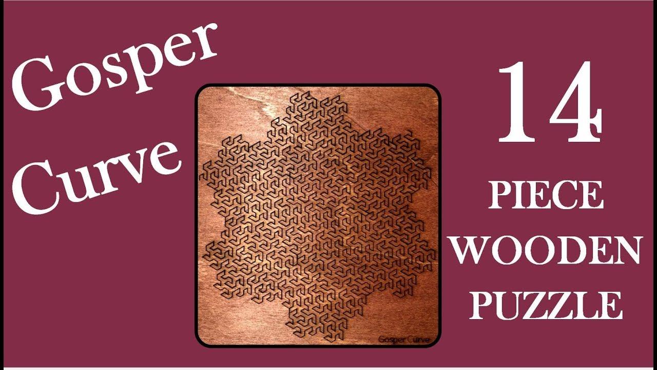 Wooden Fractal Tray Puzzle Gosper Curve