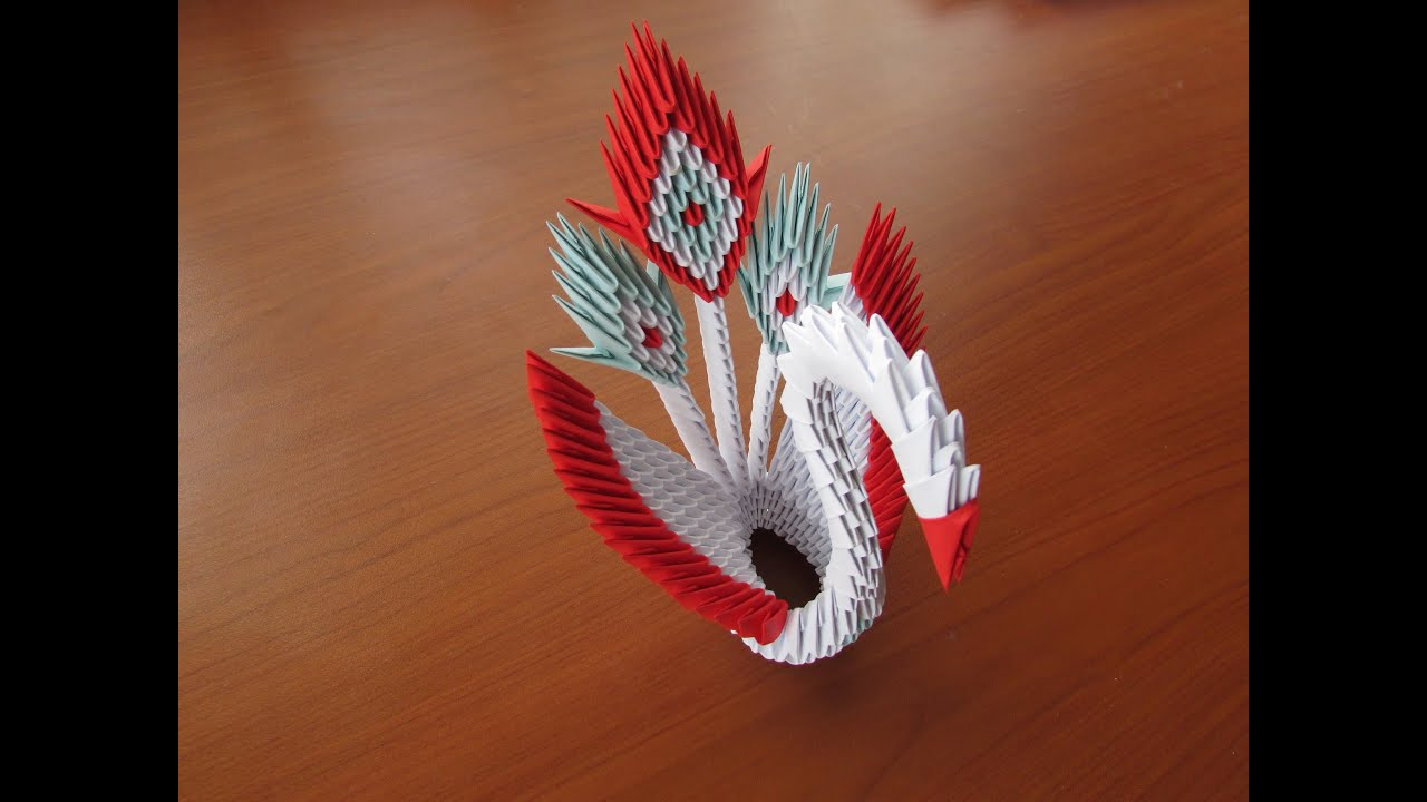 tutorial origami 3d peacock