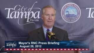 Tampa Mayor Bob Buckhorn and Chief of Police Jane Castor held their...