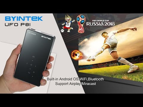 2018 newest BYINTEK UFO P8I Android 7.1 OS smart LED DLP projector,  watch the world cup