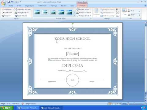 Word 2007 tutorial 17 making a certificate with a template youtube yadclub Choice Image