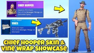 "*NEW* CHIEF HOPPER SKIN & ANIMATED ""VINES"" WRAP SHOWCASE! Fortnite BR (GIVEAWAY UPDATE) NEW SKINS!"