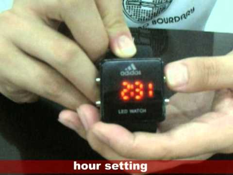 New Red LED Luxury Date Digital Lady Men Sport Black Watch(Time Setting).mpg