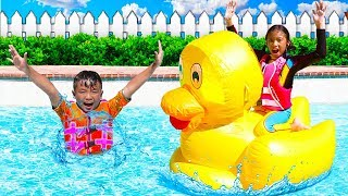 Download Wendy Pretend Play with Giant Inflatable Duck Swimming Pool Toys Mp3 and Videos