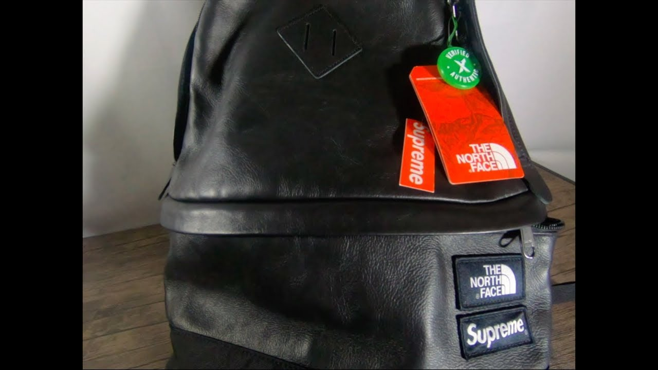 SUPREME X The North Face Leather Day Pack (Black) UNBOXING - YouTube