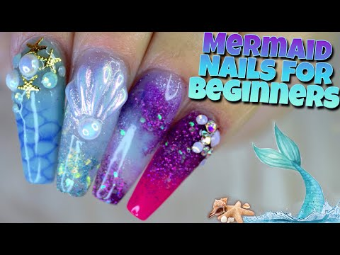BEGINNER FRIENDLY ACRYLIC MERMAID NAILS | How To Create A 3D SEASHELL & Tips 4 Beginners 🐚 🧜🏼‍♀️