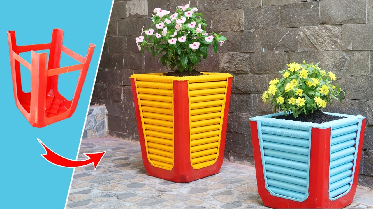 Recycling Plastic Chair old into Planter pot for Your Garden