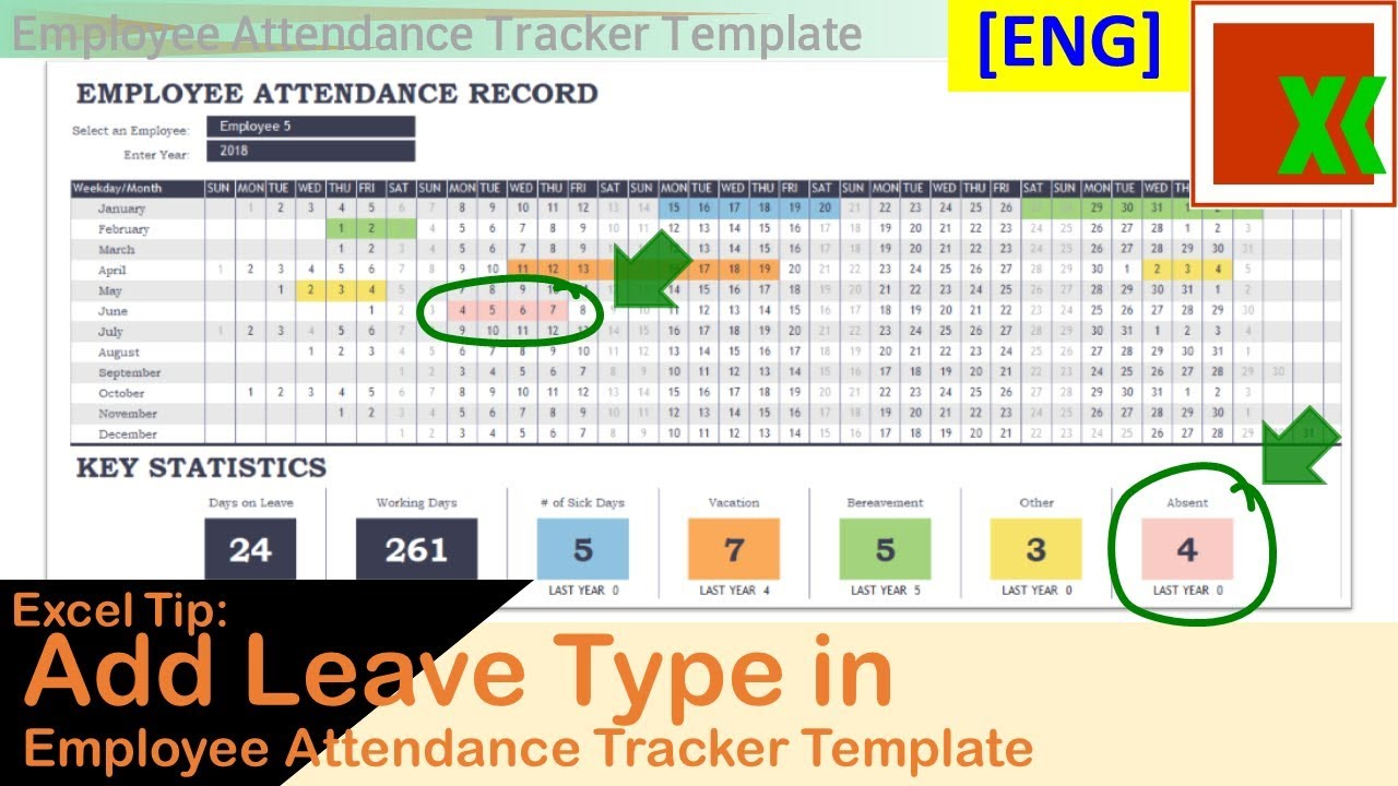 Eng Add Leave Type Into Employee Attendance Tracker Template Youtube