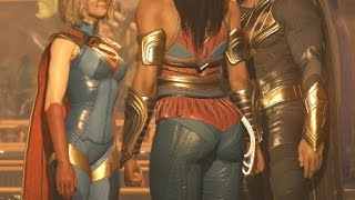 Injustice 2 Supergirl Argues with Wonder Woman And Black Adam Cutscene