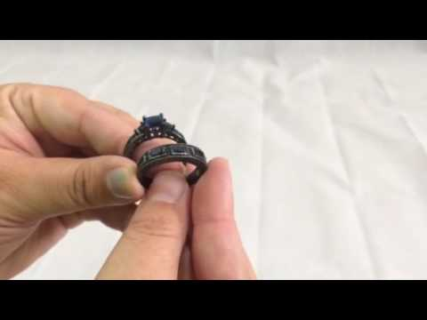 RongXing Jewelry Black Gold Plated Sapphire Blue Diamond Ring