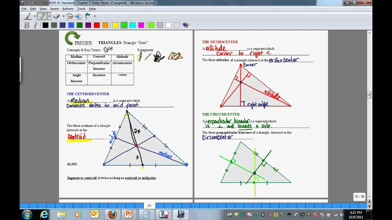 Triangles Triangle Guts Medians Altitudes Perpendicular Bisectors Angle Bisectors