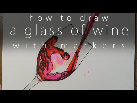 how to draw a glass of wine with markers
