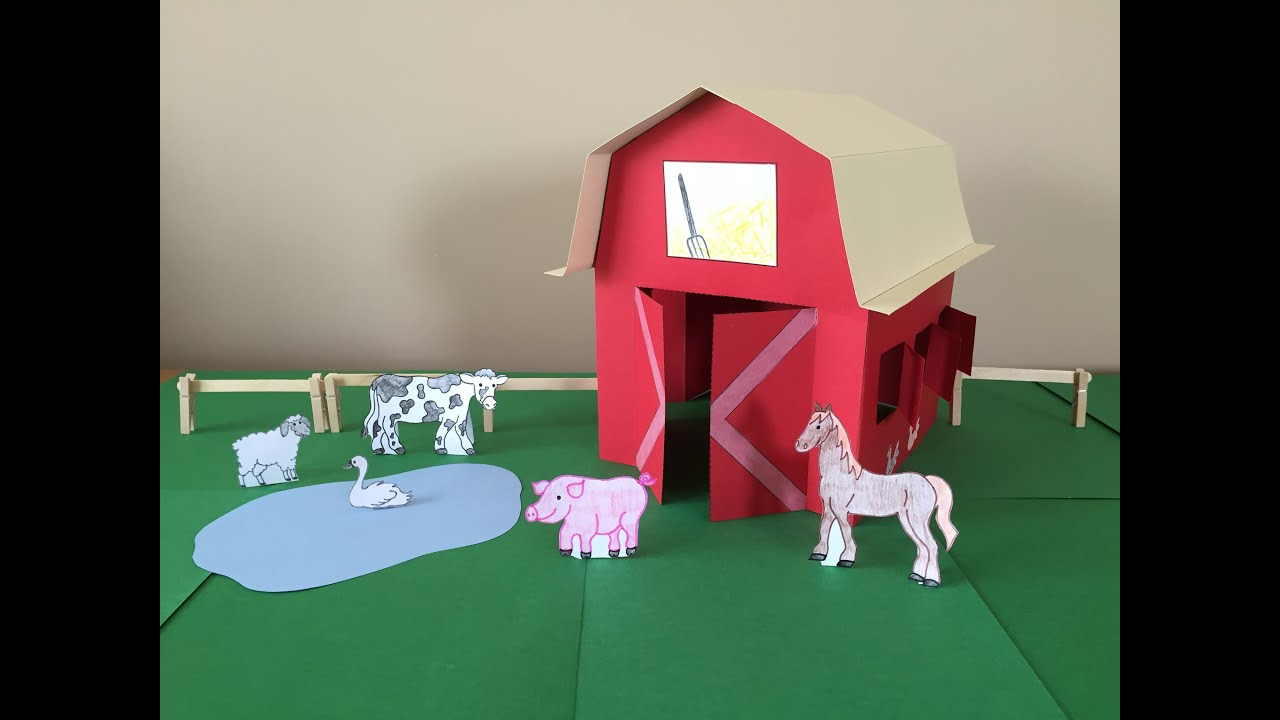 3D Paper Barn Project - YouTube