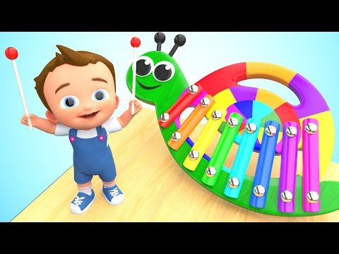 Snail Xylophone Wooden Toy Set 3D Little Baby Fun Play Learning Colors for Children Kids Educational