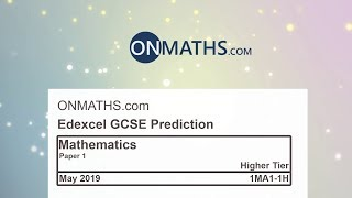 2019 Edexcel Maths GCSE Paper 1 Predicted Paper for Higher Non Calculator Exam 1MA1/1H
