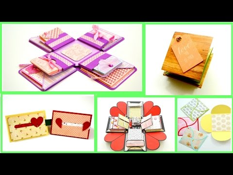 Diy Paper crafts - Explosion Box/ Squash Book / Sliding Heart Card - Card Making - Scrapbook
