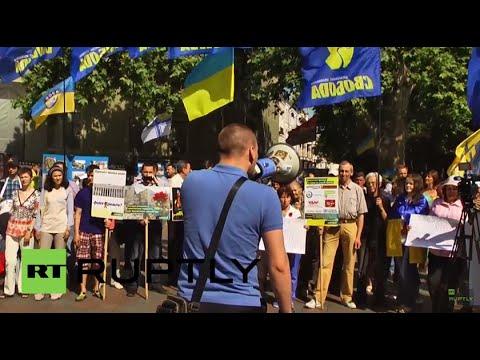 Download Ukraine: Svoboda supporters picket outside Odessa city council